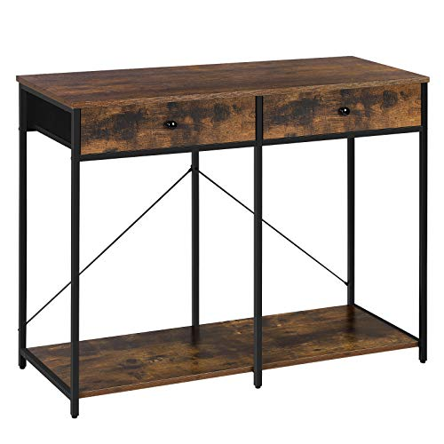 SONGMICS Console Table, Sofa Side Table with 2 Drawers, Metal Frame, for Entryway, Living Room, Rustic Brown and Black ULGS022B01