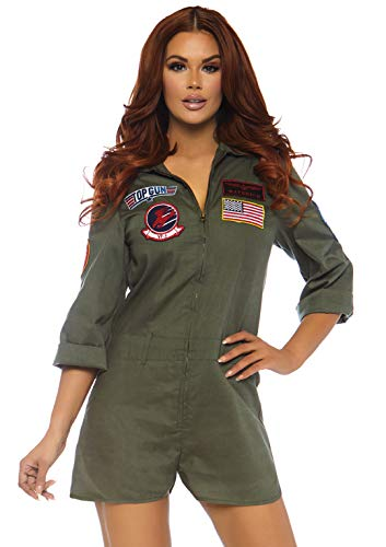 Leg Avenue Women's Top Gun Flight Suit Romper, Khaki, X-Large