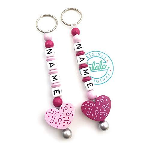 LALALO hart ornament motief sleutelhanger met naam voor meisjes graveren - cadeau hanger en naamketting voor baby & kinderen met sleutelring roze