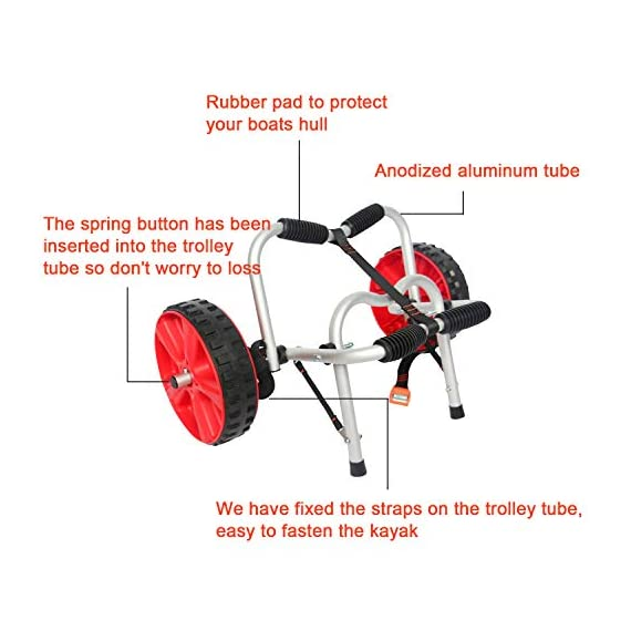 """Onefeng Sports 175LBS Kayak Cart Boat Carrier with Adjustable Width Axle for Carring Kayaks Canoes Spring Button Design… 2 ☀【ADJUSTABLE POLES】The distance between 2 poles is adjustable from 24-40cm(9.4""""-15.7""""). ☀【NEW TIRES】Plastic tires with rubber sheaths,won't slip.Tires are environment-friendly,odourless smelless.Size:25×7cm(9.8""""×2.7"""") ☀【PADDED DESIGN & MATERIAL】Black cover to protect your kayak or canoe.Made of Stainless Steel.Capacity:175 lbs.as been inserted into the trolley tube so don't worry to loss.We have fixed the strap(10ft) on the rubber cones,easy to fasten the kayak."""