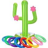 Il pacco include: 9 pezzi include 1 pezzo gonfiabile cactus e 8 pezzi anelli gonfiabili colorati Dimensioni del cactus gonfiabile: ca. 25,5 x 13,8 pollici, dimensioni corrette (dopo il gonfiaggio) Facile da gonfiare e sgonfiare: i giocatori a turno l...