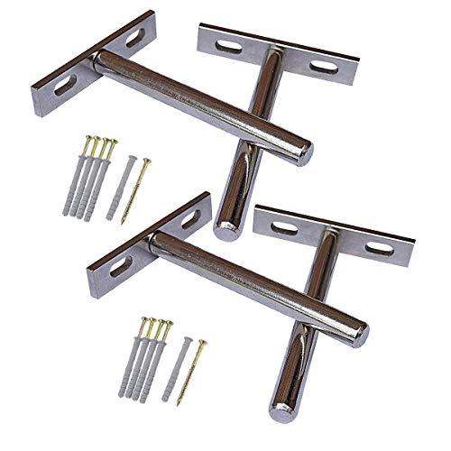 T&B Soportes de estante flotante invisible 4 Piezas - Completamente oculto - Montaje empotrado - Juego completo con tornillos y tapón de pared - Persiana de acero endurecido- (5 ')