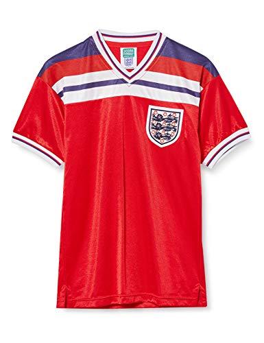 Camiseta de la Copa del Mundo de Inglaterra 1982 Escudo bordado de Inglaterra cosido en el pecho izquierdo. Paneles impresos en color rojo/blanco/azul en el pecho. 60% algodón, 40% poliéster.