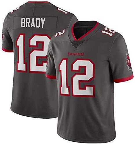 MMW - Camiseta de rugby de Tom Brady # 12 Tampa Bay Buccaneers fútbol Jersey unisex de manga corta, transpirable, el mejor regalo, gris, 2XL(190cm~195cm)