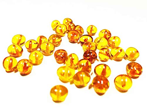 Cuentas de ámbar báltico natural de coñac con agujero pulido. Peso: 5 gramos de cuentas de ámbar listas para hacer joyas.