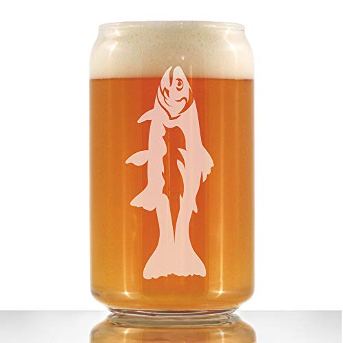 Trout - Beer Can Pint Glass - Trout Fishing Gifts for Fisherman - Fun Fish Cups & Lake House Decor - 16 oz