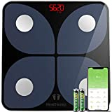 Body Fat Scale, Smart Bathroom Weight Scale Wireless BMI Body Composition Monitor, High