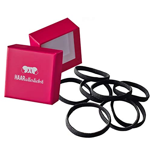 HAARallerliebst Haargummis extra breit (8 Stück | schwarz | 5cm) inkl. Schachtel zur Aufbewahrung (Schachtelfarbe: pink)