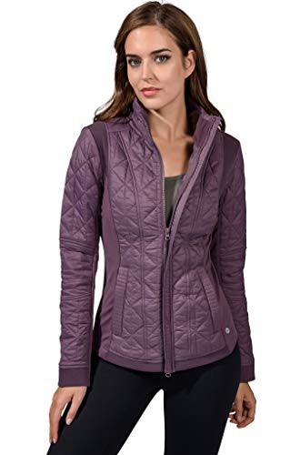 90 Degree By Reflex Womens ColdGear Warm Fleece Brushed Inside Jacket Top - Mulberry Quilted Jacket - XL