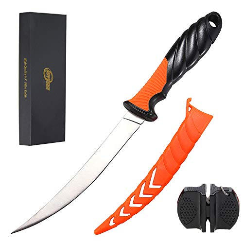 Fillet Knife Fishing Knife, 6.3 inch Stainless Steel Filet Knife with Sheath, Multifunctional Fish Fillet Knife/ Fish Deboning Knife in Freshwater Saltwater (with Gift Box and Knife Sharpener)
