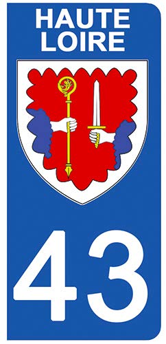 DECO-IDEES 2 Stickers pour Plaque d'immatriculation - 43 - Blason Haute Loire- Stickers Garanti 5 Ans