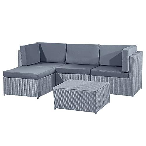 Guaranteed4Less Rattan Garden Furniture Patio Corner Sofa Set Lounger Table Outdoor Conservatory (Grey)