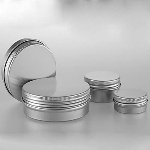KeCool Aluminium Tin Jars kleine kosmetische Topf Lip Jar Zinn Make-up Aufbewahrungsbox Container Runde Topf Schraubverschluss Deckel für Lippenbalsam, Salbe Candy, Vitamin (4 Stück, 15/30/60/100 ml)
