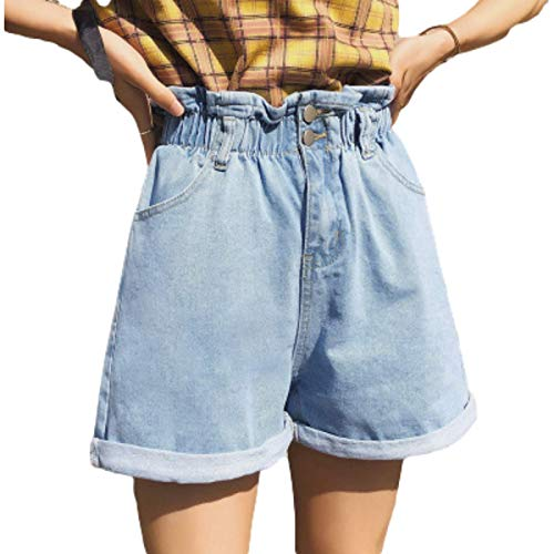 Pantalones Cortos para Mujer Moda Suelta Cintura elástica Casual Todo-fósforo Tendencia básica Lavado Trabajo de Oficina Pantalones Cortos de Mezclilla Verano L