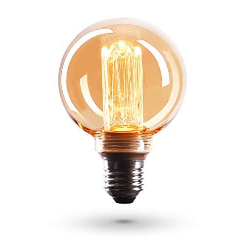 CROWN LED Edison Illusion Filament Glühbirne E27 Fassung, Dimmbar, 3,5W, 1800K, Warmweiß, 230V, EL21, Antike Filament Beleuchtung im Retro Vintage Look