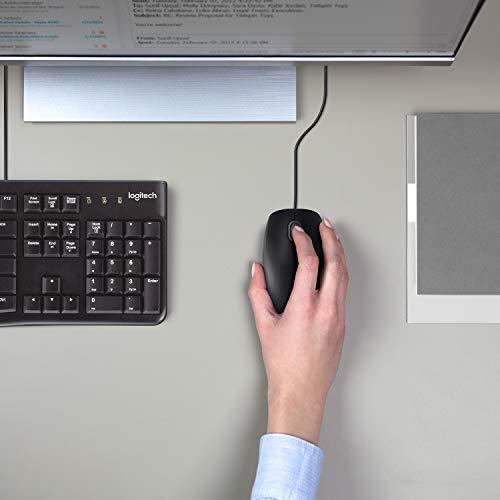 Logitech B110 Mouse USB Cablato, Pulsanti Silenziosi, Design Comodo Full-Size, Mouse Ambidestro per PC/Mac/Laptop - Nero