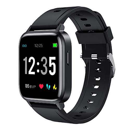 Wsaman Pulsera De Actividad Inteligente Impermeable IP68, Rastreador De Ejercicios con Rtmo Cardíaco Sueño Monitor para Android e iOS Smart Watch Reloj,Negro