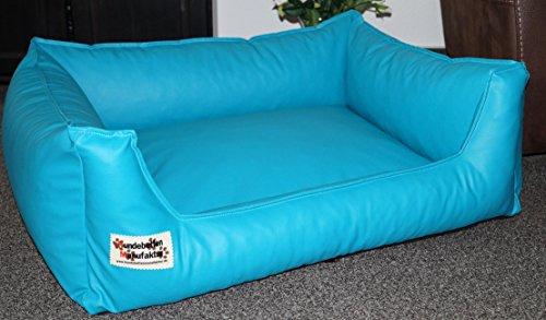 Hundebett Hundesofa Schlafplatz Kunstleder Acceso Farbe und Größe wählbar von XS bis XXL (50 cm X 40 cm, türkis)
