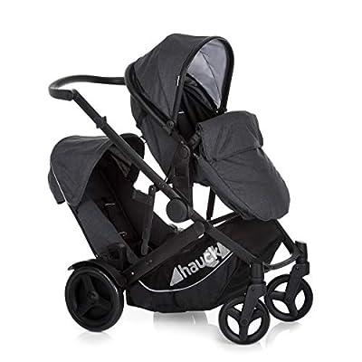 Hauck Duett 3 carro hasta 36 kg, gemelar con capazo para recien nacido, convertible y asiento giratorio, segundo asiento extraíble, manillar ajustable en altura, con cubierta de lluvia, gris