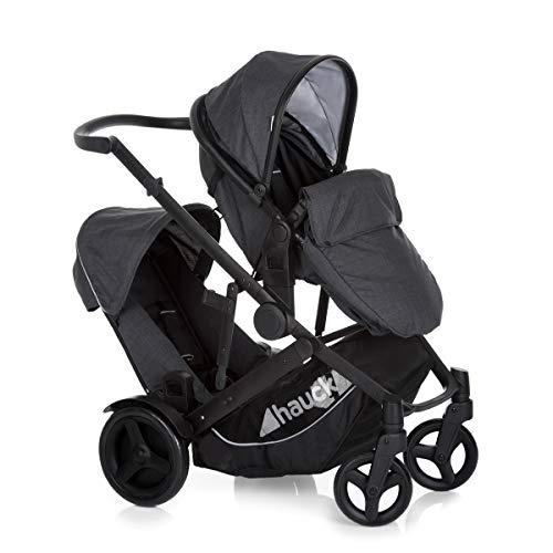 Hauck Duett 3 Geschwisterwagen bis 36 kg, Zwillingsbuggy mit Babywanne ab Geburt, umbaubar zur drehbaren Sitzeinheit, Zweit-Sitz abnehmbar, höhenverstellbarer Schieber, mit Regenverdeck - Grau