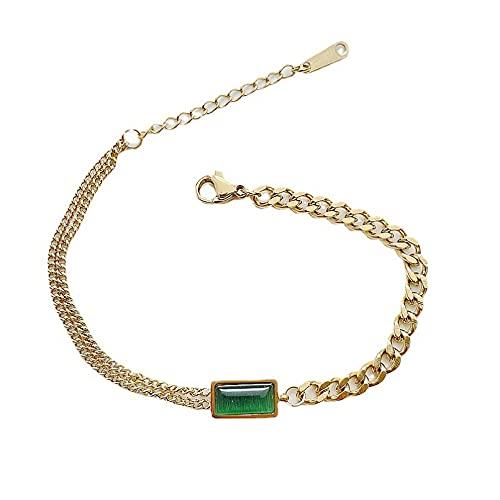 JIAQINGRNM Collar temperamento verde ópalo titanio pulsera de acero femenino novias collar asimétrico clavícula cadena día de San Valentín cumpleaños