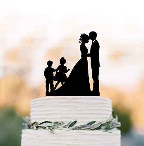 Decoración para tarta de boda con dos hijos, silueta de novia y novio personalizada, decoración para tarta de boda con niño y niña