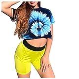 Tefamore Women's Round Neck Short Tie-Dye Gradient Short Sleeve T-Shirt Hippie Shirt
