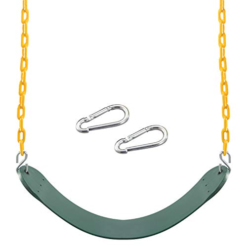 """Heavy Duty Swing Seat Green Color with 66"""" Chain, Swing Set Accessories Replacement with Snap Hooks for Kids Outdoor Play Playground, Trees, Swing Set, Playground"""