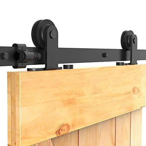 201cm/6.6FT Schiebetürsystem Zubehörteil Laufschiene Schiebetürbeschlag Holzschiebetür Komplettset Schiebetür Schiene Set Schwarz/sliding barn door hardware