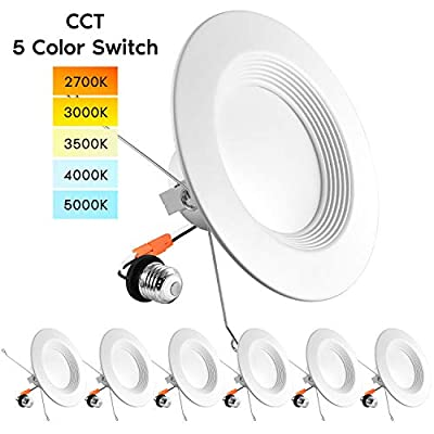 Luxrite 5/6 Inch LED Recessed Retrofit Downlight, 14W=90W, CCT Color Selectable 2700K | 3000K | 3500K | 4000K | 5000K, Dimmable Can Light, 1100 Lumens, Wet Rated, Energy Star, Baffle Trim (6 Pack)