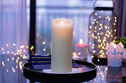 Flameless Candle Moving Wick Real Wax Candle with Timer,Vanilla Scented,3.5 inch by 7-inch Ivory