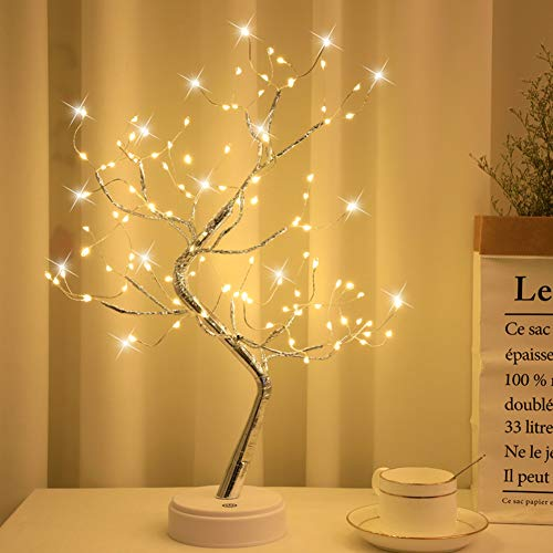 Tabletop Bonsai Tree Light with 108 LED Copper Wire String Lights, Battery/USB Operated DIY Artificial Tree Lamp for Bedroom Desktop Christmas Party Indoor Decoration Lights (Warm White)