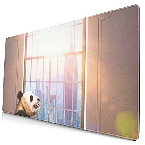 QBahoe Mousepad Panda Bathing in Bathtub Rubber Duck with Sunshine Gaming Mouse Pad Mouse Mats Anti-Slip Rubber Base Mousepads Mat for Computers Laptop Office Accessories Desk Decor 158 X 295 Inch