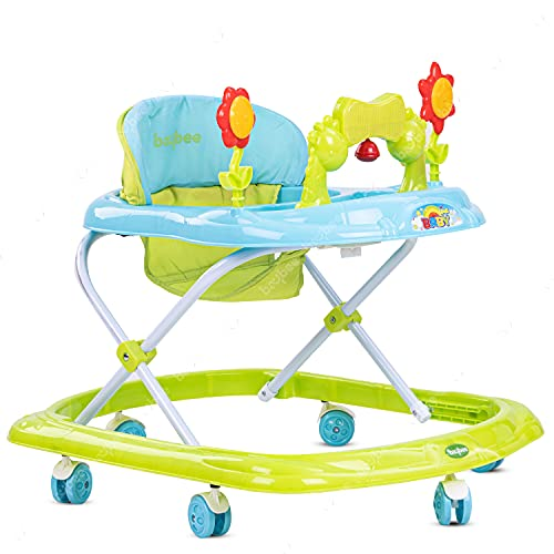GoodLuck Baybee Round Baby Walker for Kids | Music & Light Function with 3 Position Height Adjustable kis Walker,Fun Toys & Activities for Babies/Childs (6 Months to 2 Years) (Green)