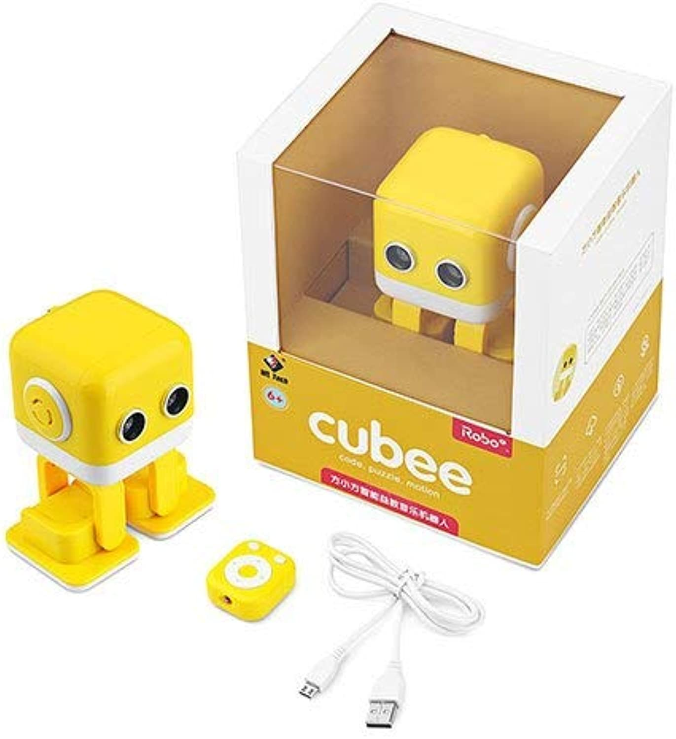 Generic WLTOYS Cubee RC Intelligent Robot Smart blueetooth Speaker Musical Dancing Toy Attractive LED Face Desk Gift Gesture Interative Yellow