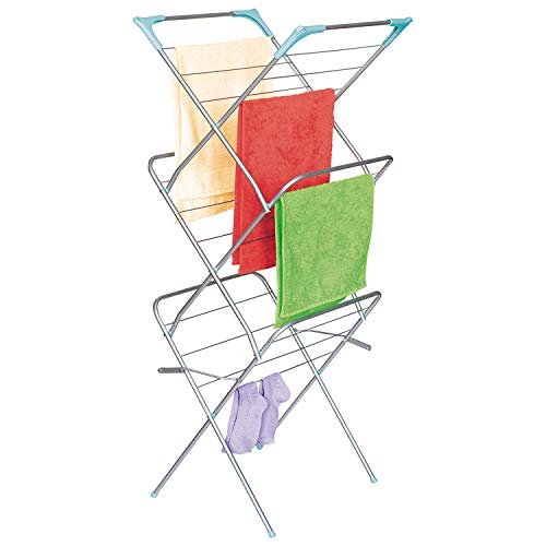 ArtMoon Niagara 699188 Wäscheständer Platzsparend Stahl, Silber, 3 Ebenen, 48x47x129 CM