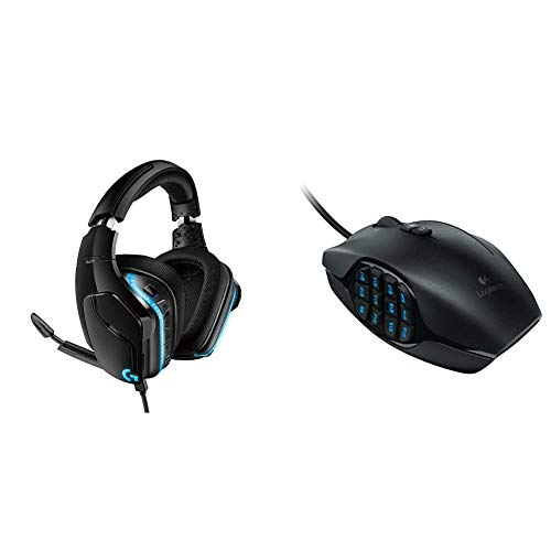 Logitech G635 DTS, X 7.1 Surround Sound LIGHTSYNC RGB PC Gaming Headset & G600 MMO Gaming Mouse, RGB Backlit, 20 Programmable Buttons