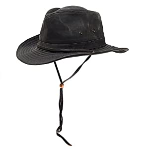Large Distressed Cotton Water Repellent Aussie Outback Hat Shapeable Brim  Chin Strap