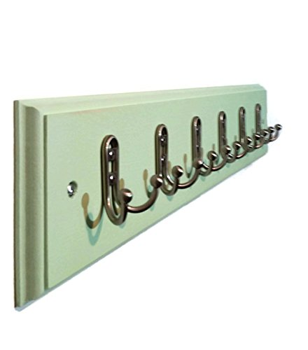 Countryside Wall Mounted Coat, Clothing or Towel Hooks, Customizable Number of Double Utility Hooks - 20 Colors - Shown In Garden Green
