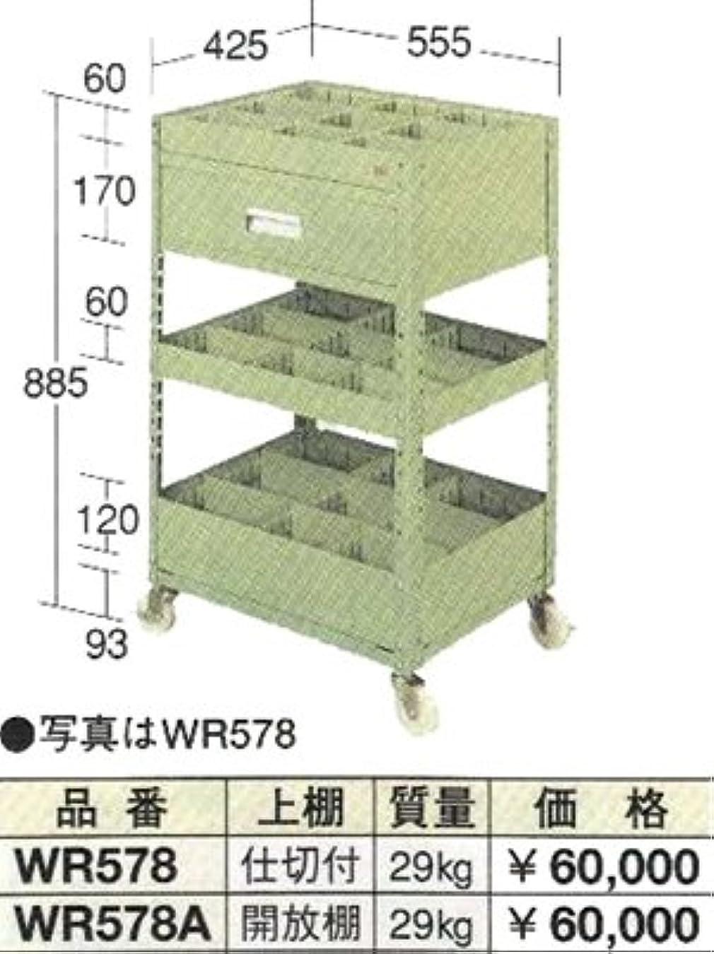 リップ経由で引っ張るOS(大阪製罐) ラックワゴン開放棚付 WR578A