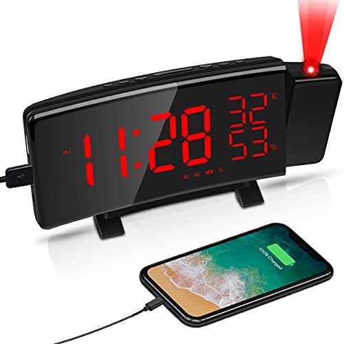 LATEC Sveglia con Proiettore, Sveglia a Proiezione e Porta USB, 5'' Grandi Schermo LED, 4 Luminosità di Proiezione Regolabile, Numeri Rossi Ultra Chiari, Facile da Usare, Snooze,12/24 Ore