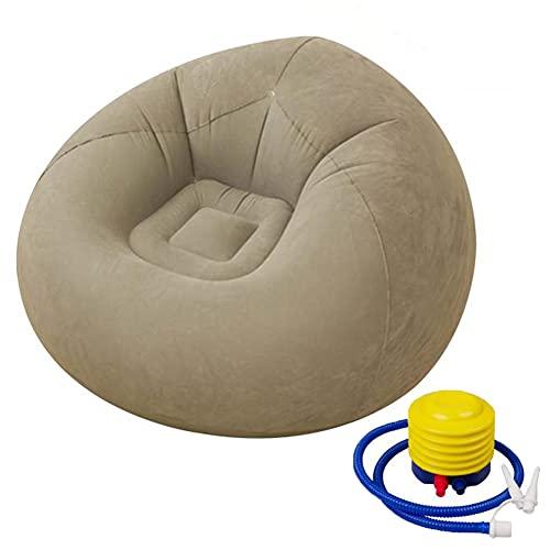 Greenf - Puf hinchable para adultos y niños, tamaño gigante en flocado, plegable, para interior y exterior, puf grande, sillón de pera de salón, color rojo + bomba