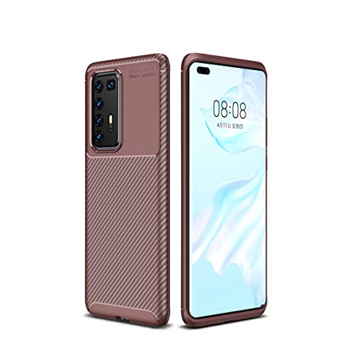 Hülle für Huawei P40 Pro, Stoßfest Handyhülle Schutzhülle Shock Absorption Cover Ultra Schlank Softschale Silikon TPU (Brown)
