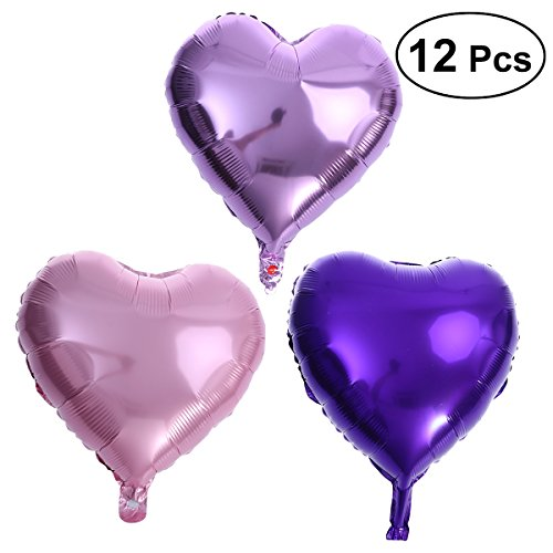 NUOLUX 18 Inch Heart Foil Balloons Romantic Wedding Balloons for Party Decorations,12 Pieces(Pink+Purple+Light Purple)