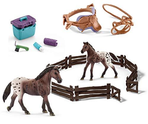 5in1-SET Schleich Pferde Horse Club - Appaloosa Stute & Fohlen + Zaun + Sattel Zaumzeug und Pflegeset 13861 + 13862 + 42165 + 42304 + 42366