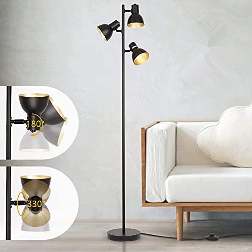 Albrillo Lámpara de pie de retro, con 3 focos y casquillo E27, máx. Lámpara de pie y bombilla de 40 W, color negro y dorado, 160 cm de metal, lámpara de pie para sala de lectura, dormitorio, oficina