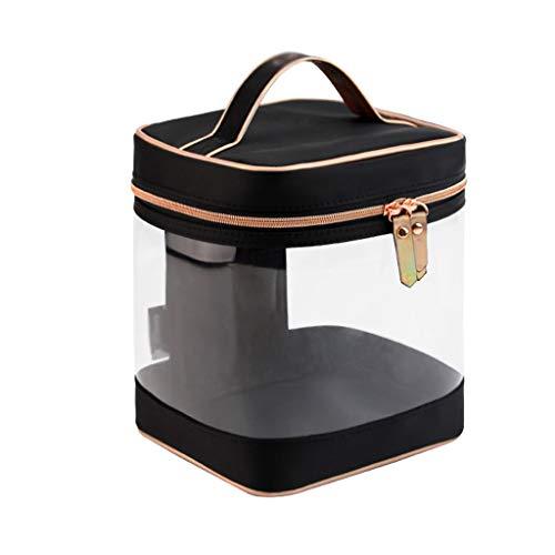 Sac cosmétique de Sac de Stockage de Voyage portatif Simple de Sac cosmétique Simple de PVC d'épaisseur Transparente de PVC (Color : Black, Taille : 16 * 14 * 18CM)