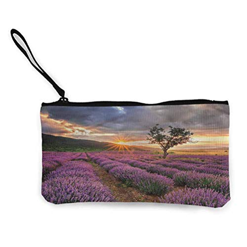 Lavender Cosmetic Bag For Women Travel Purse Wristlet Idyllic Landscape with Sun 8.5 x 4.5inches