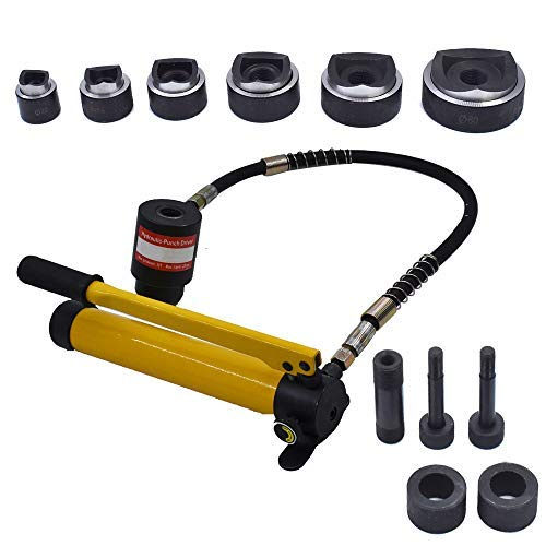 New 10 Ton 1/2' to 2' Hydraulic Knockout Punch Driver Tool Kit Electrical Conduit Hole Cutter Set KO Tool Kit with 6 Dies Knockout Punches for Installing Repairing Wire Pipeline Signal lamp Machinery