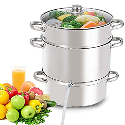 Giantex 11 Quart Juice Steamer Fruit Vegetables Juicer Steamers w/Tempered Glass Lid, Hose, Clamp, Loop Handles Stainless Steel Steam Juicer Multipots Kitchen Cookware for Making Juice, Jelly, Pasta